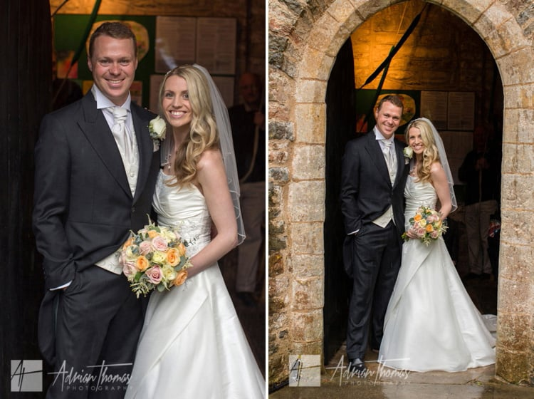 Bride and groom at church door.