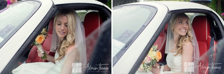 Bride leaves for reception n car.