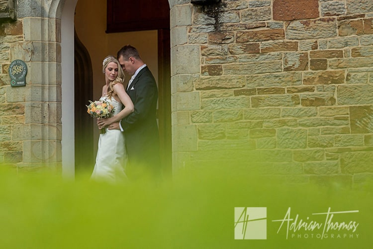 Romantic image of wedding couple at Bryngarw House.