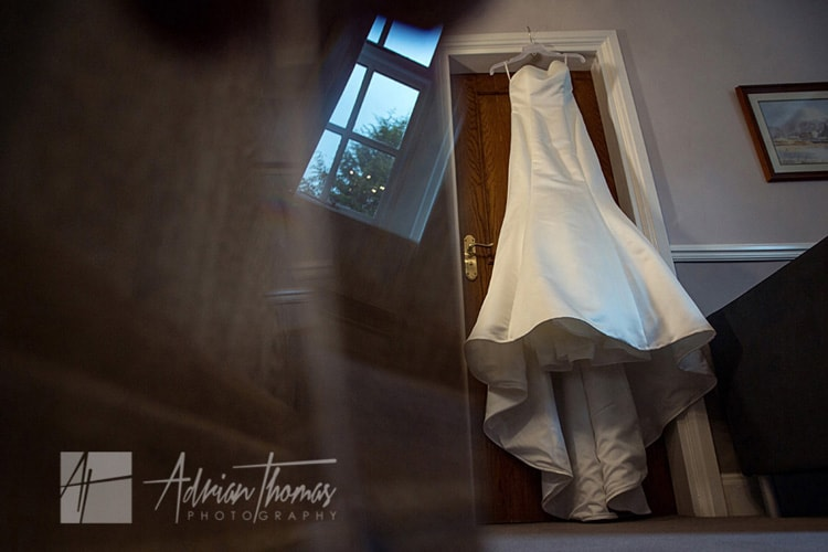 Wedding dress at Bryngarw House.