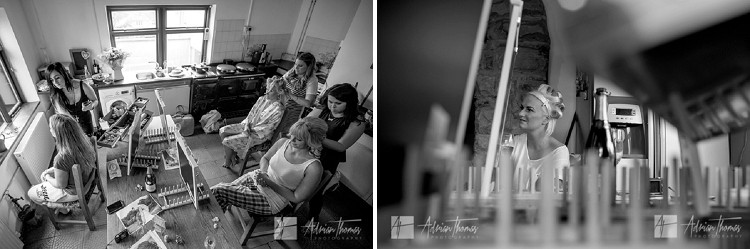 Bridesmaids before wedding.