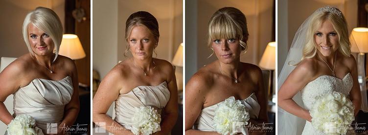 Bride and bridesmaids head and shoulders portrait image.