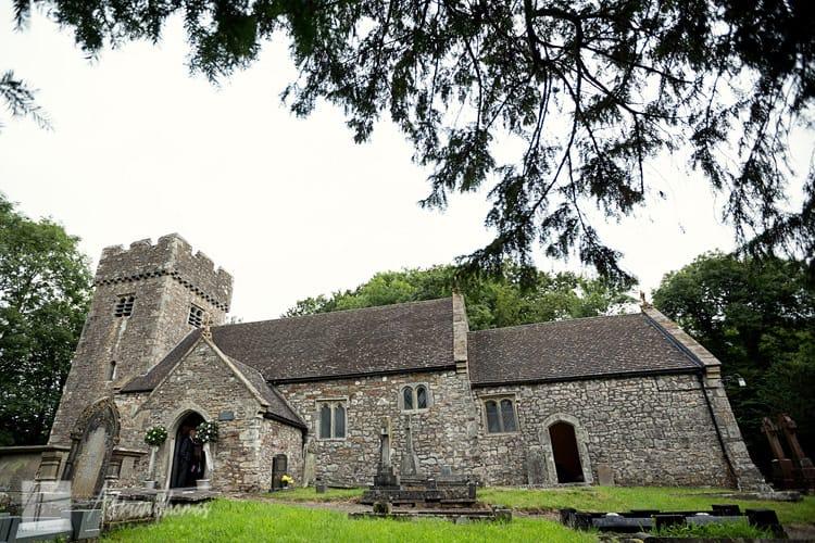 Llanilid Church wide angle photograph.