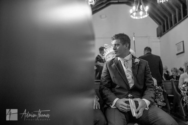 Groom waiting for bride Llanilid Church