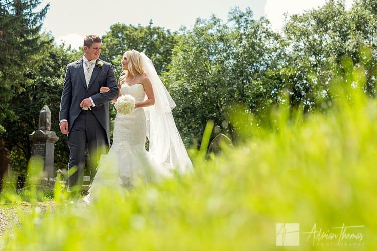 Bride and groom leaving Llanilid Church.