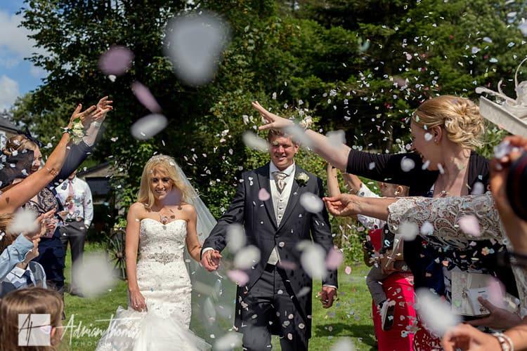 Wedding confetti shot.