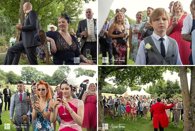 Wedding guests watching entertainment.