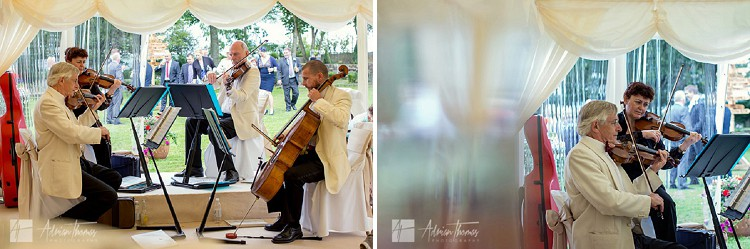 Orchestra play at wedding reception.