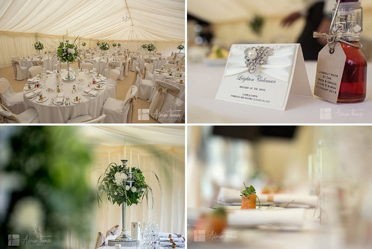 Wedding marquee table top details.