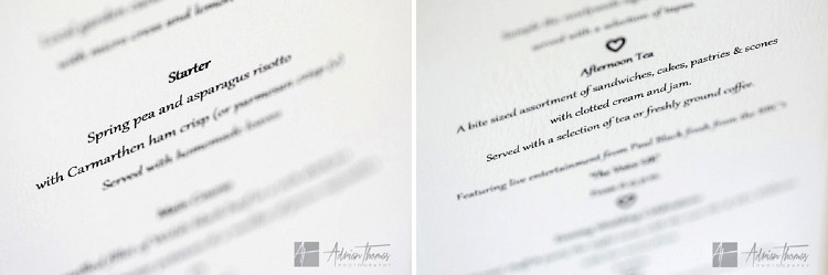 Wedding breakfast menu.