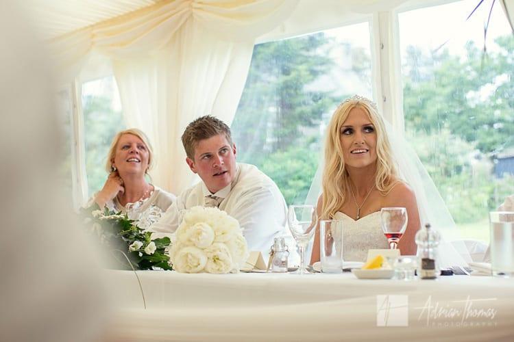 bride listening during speeches.