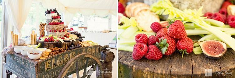 Wedding reception food display.
