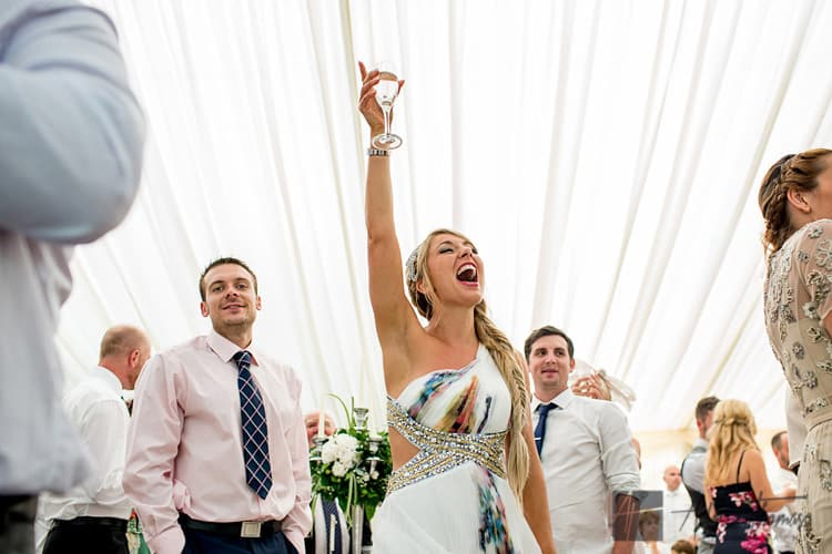 Guests cheering during wedding speeches in marquee near Llanilid Church.