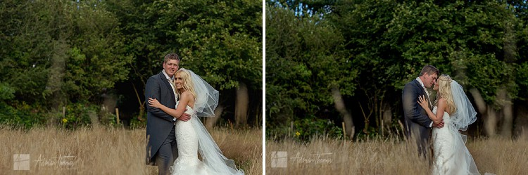 Image of bride and groom portrait in field near Llanilid Church.