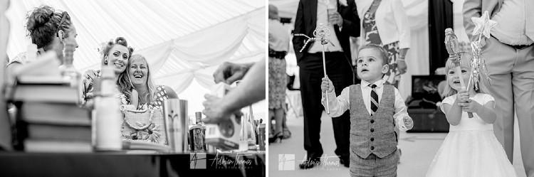 Guests enjoying wedding.