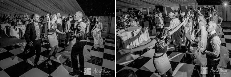 Guest dancing in marquee.