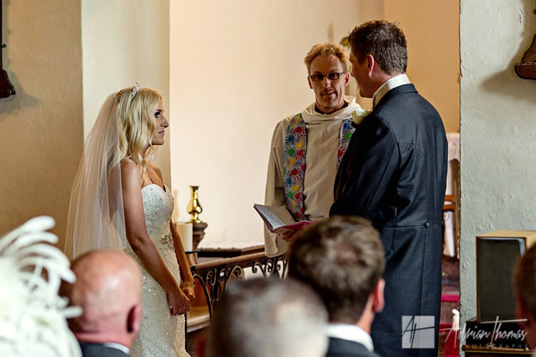 bride and groom during wedding service.