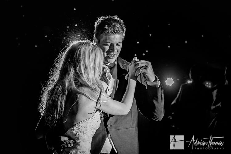 Bride and groom first dance in marquee near Bridgend.