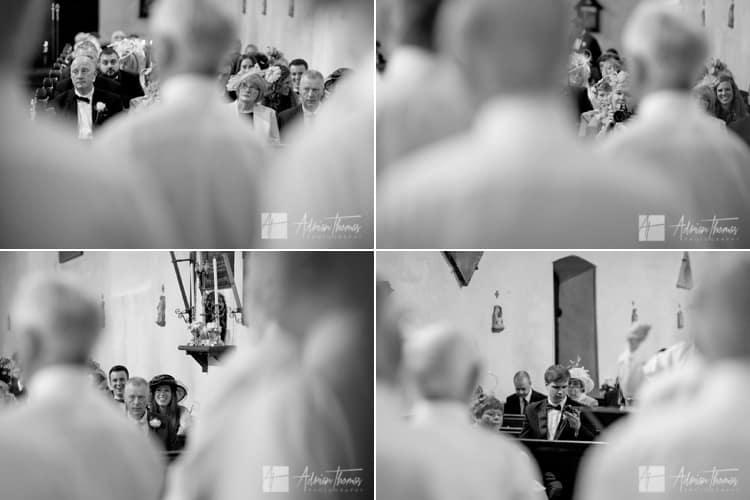 Wedding guests watching choir.