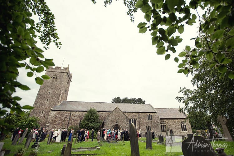 Wedding guests outside St Augustines Church.