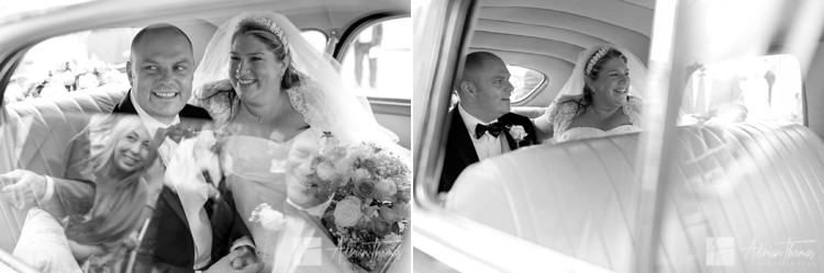 Bride and groom leave in car.
