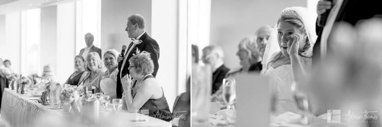Bride during dads speech.