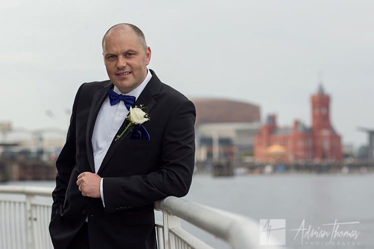 Groom at St Davids Hotel Cardiff Bay Wedding Venue