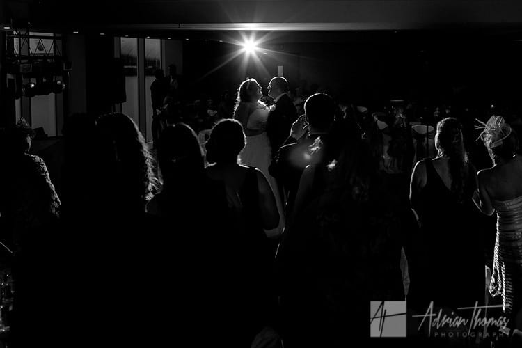 Bride and groom during wedding 1st dance at St Davids Hotel.