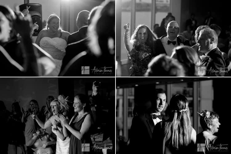 Guests dancing at wedding reception.