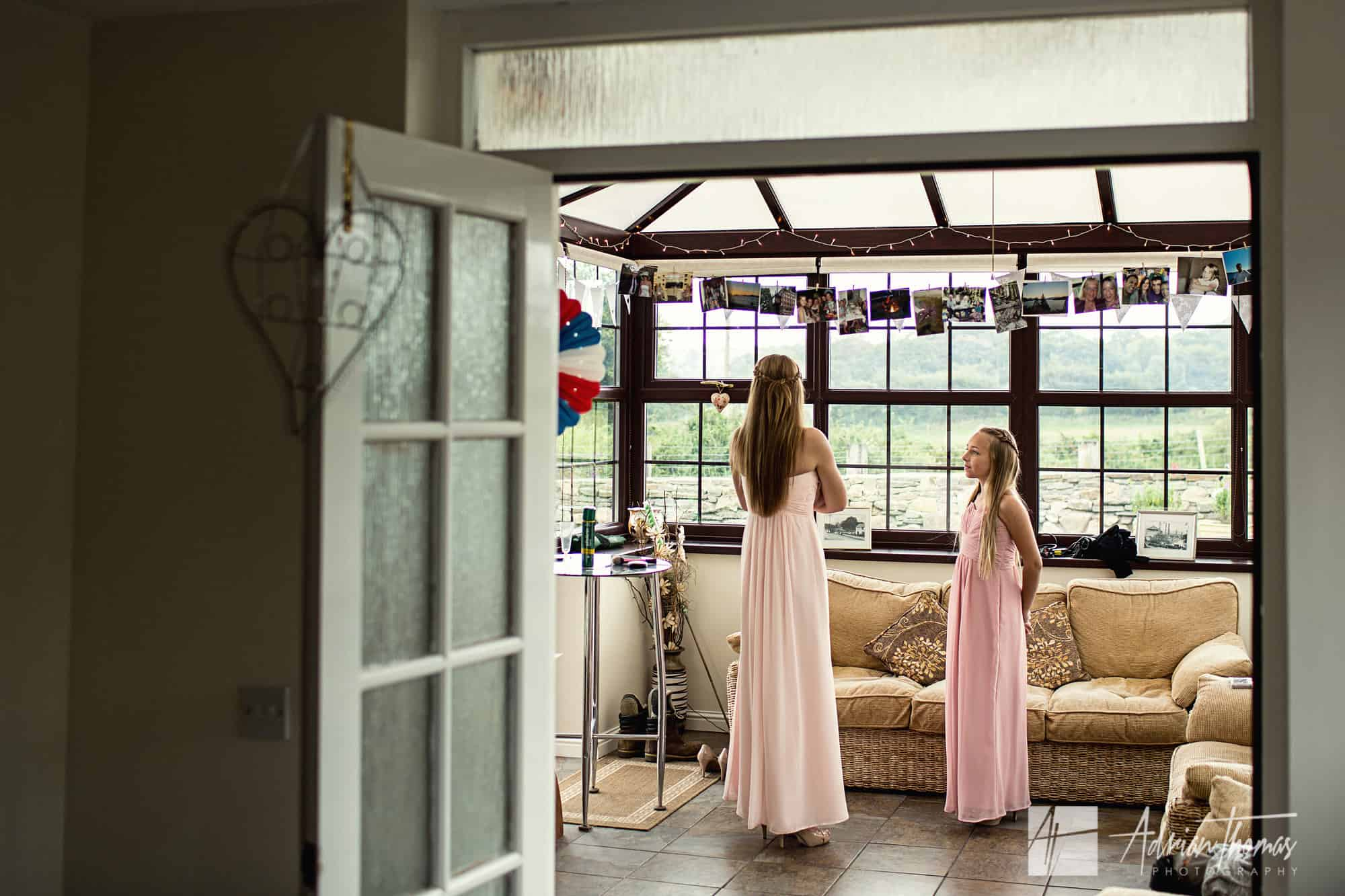 Bridesmaids waiting for bride at Pentre Tai Farm B&B.