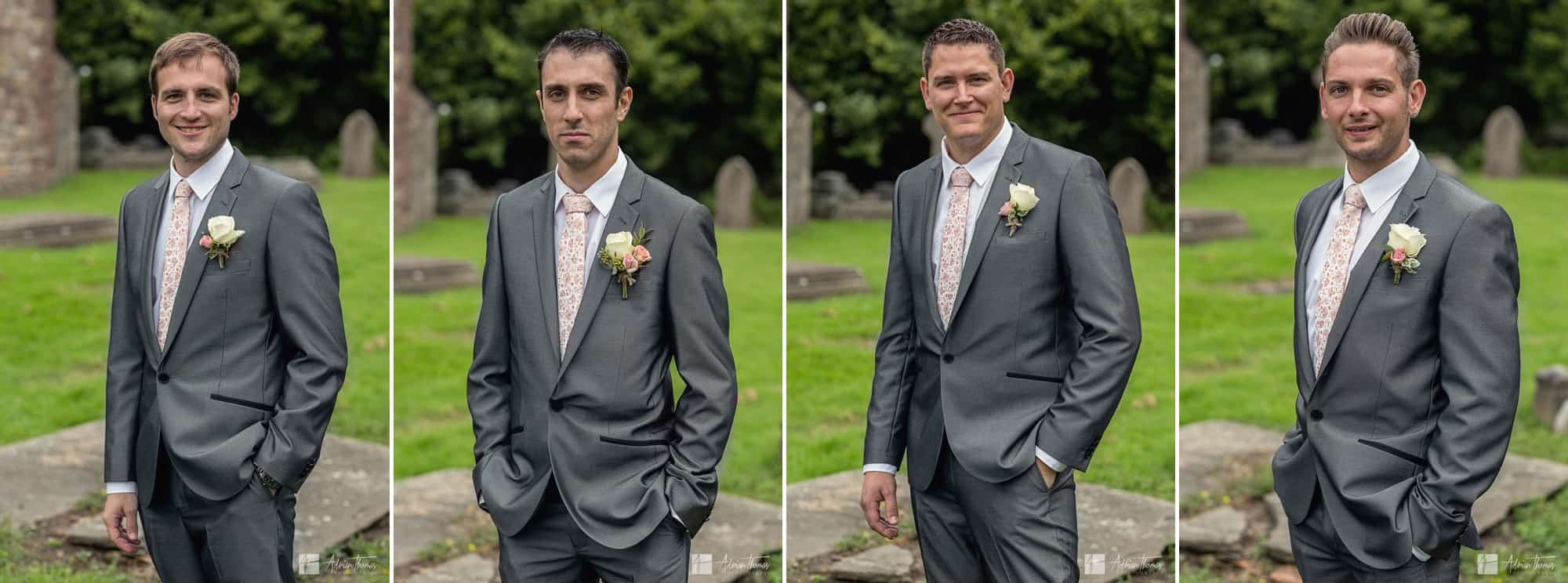 Groom and bestmen at St Basils Church.