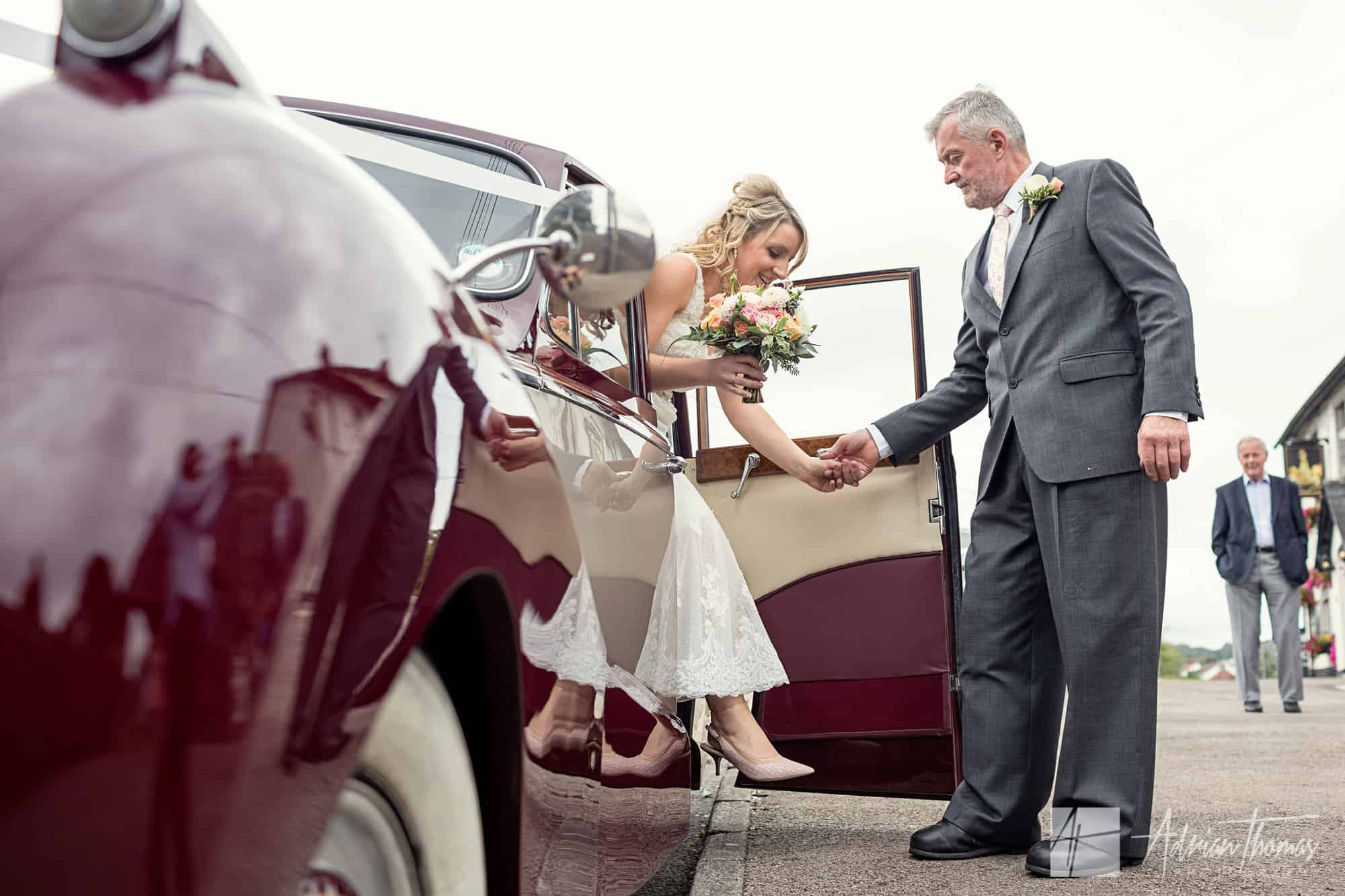 Bride and Dad arriving for wedding.