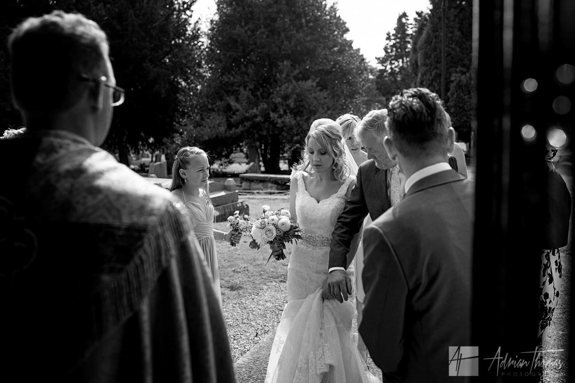 Brides dad offers his guiding arm