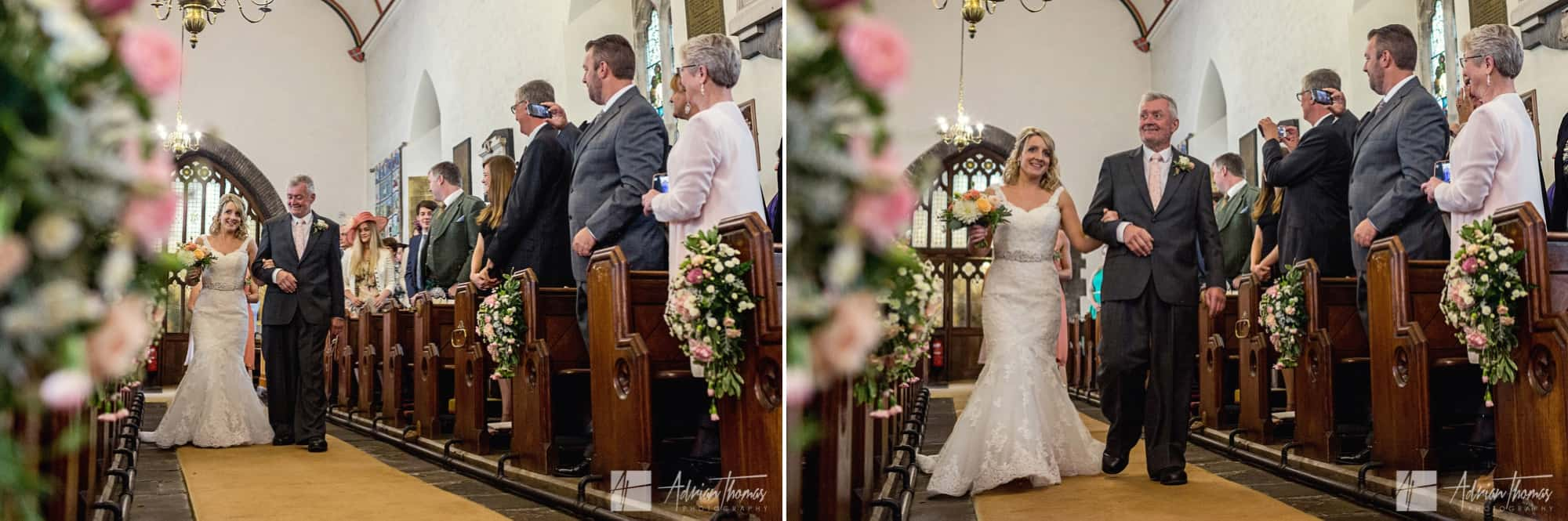 Bride and dad walking down church isle.