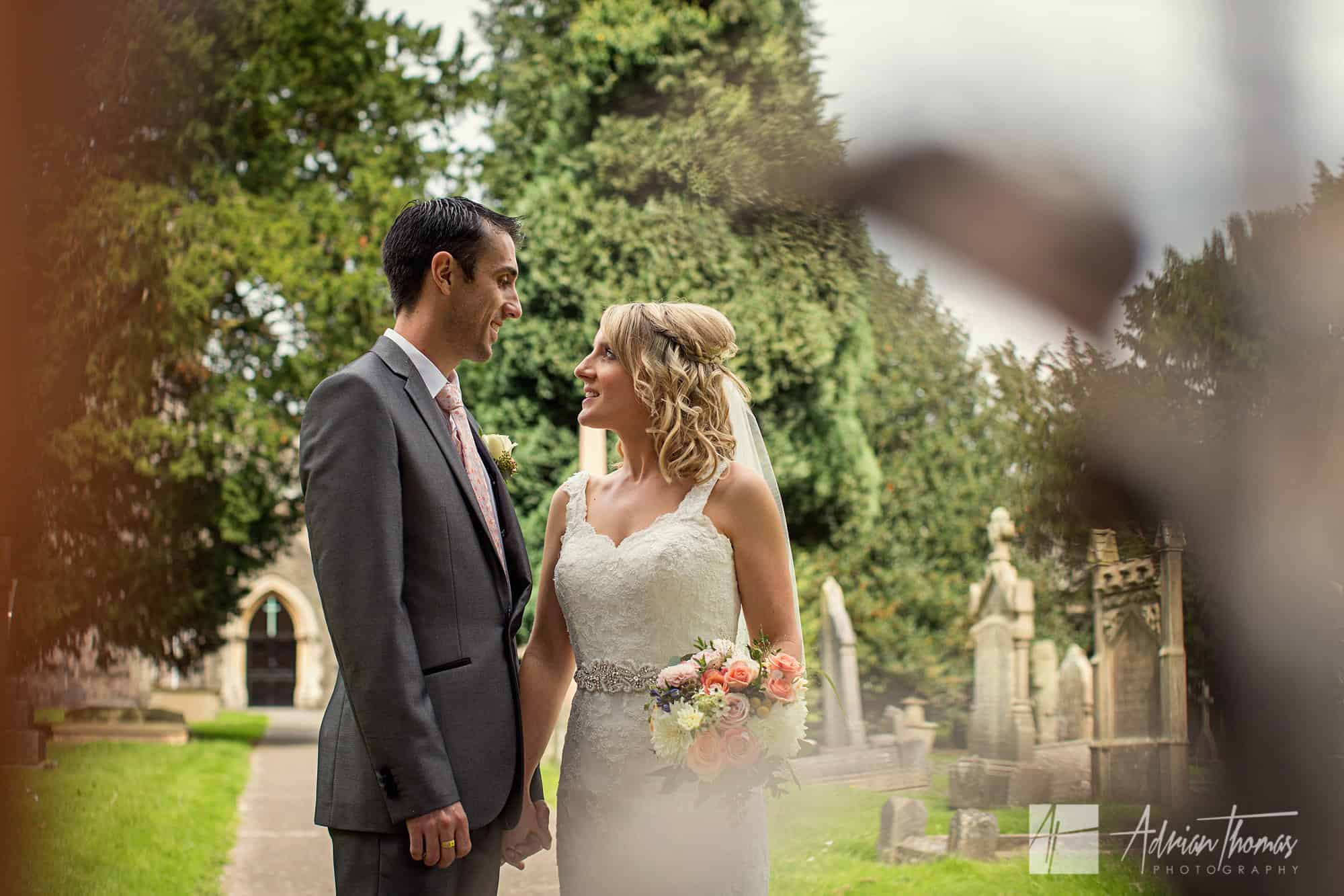 bride and groom at St Brides Church in Bassaleg near Newport.