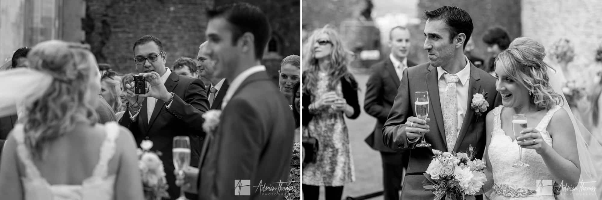 Wedding couple having their photo taken.