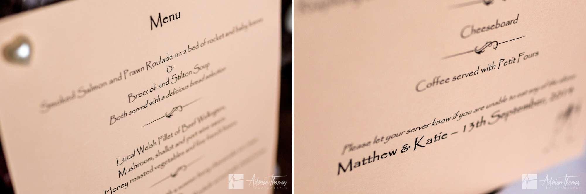 Wedding breakfast menu.