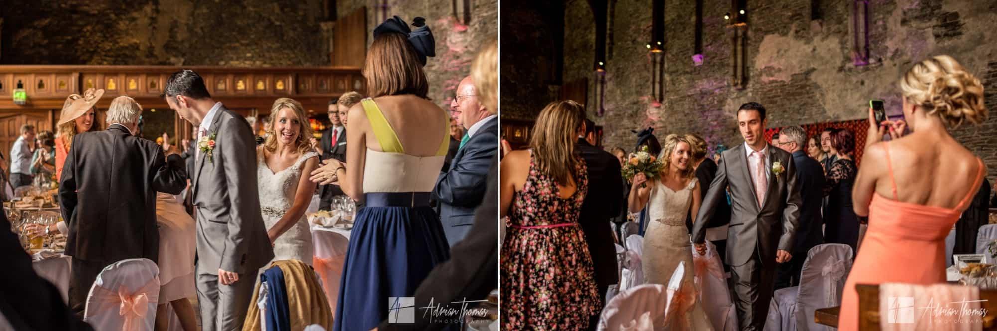 Bride and groom enter reception.