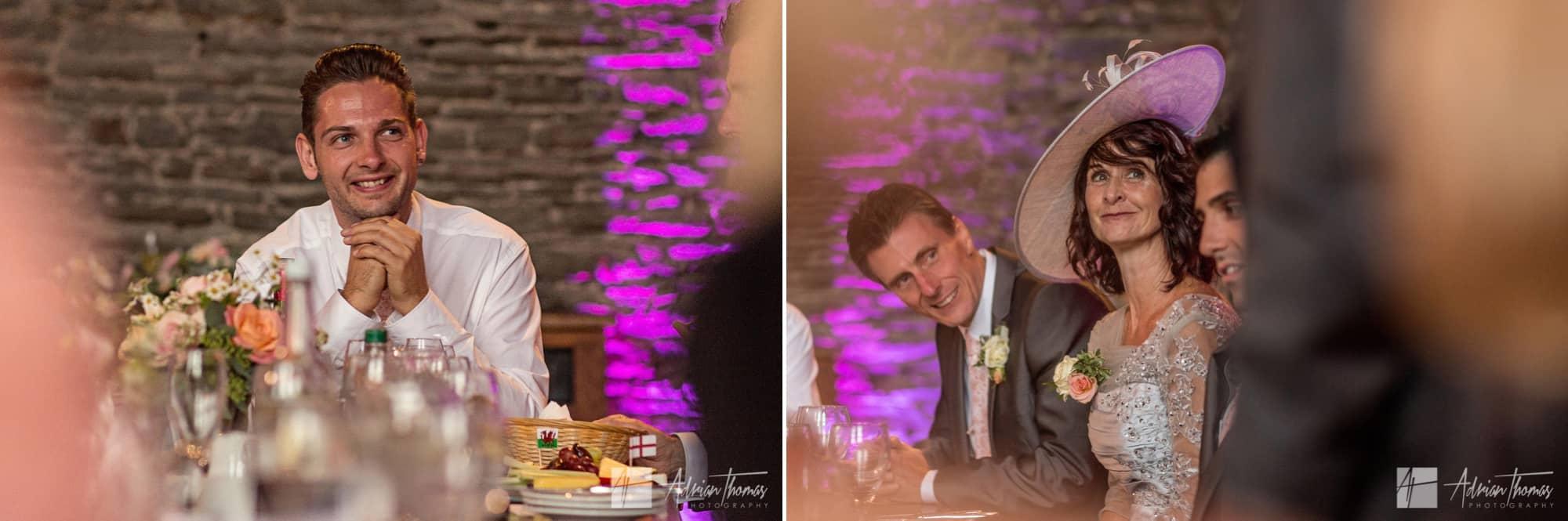 Best man smiling at speech.