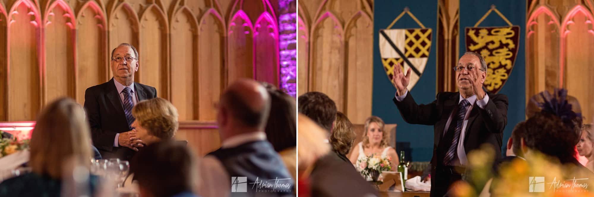 Speech at wedding.