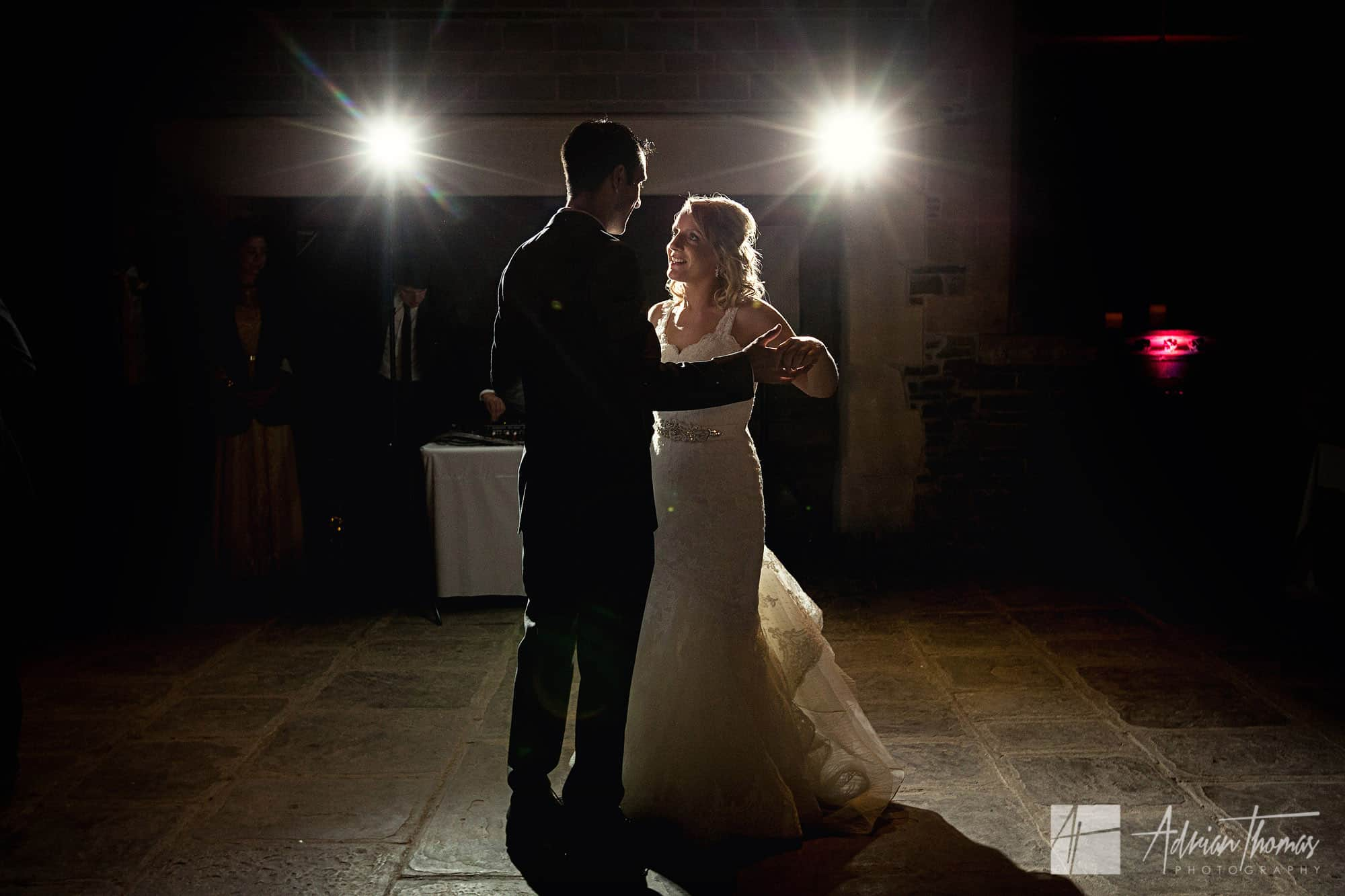 Bride and groom first dance at their Caerphilly Castle wedding.