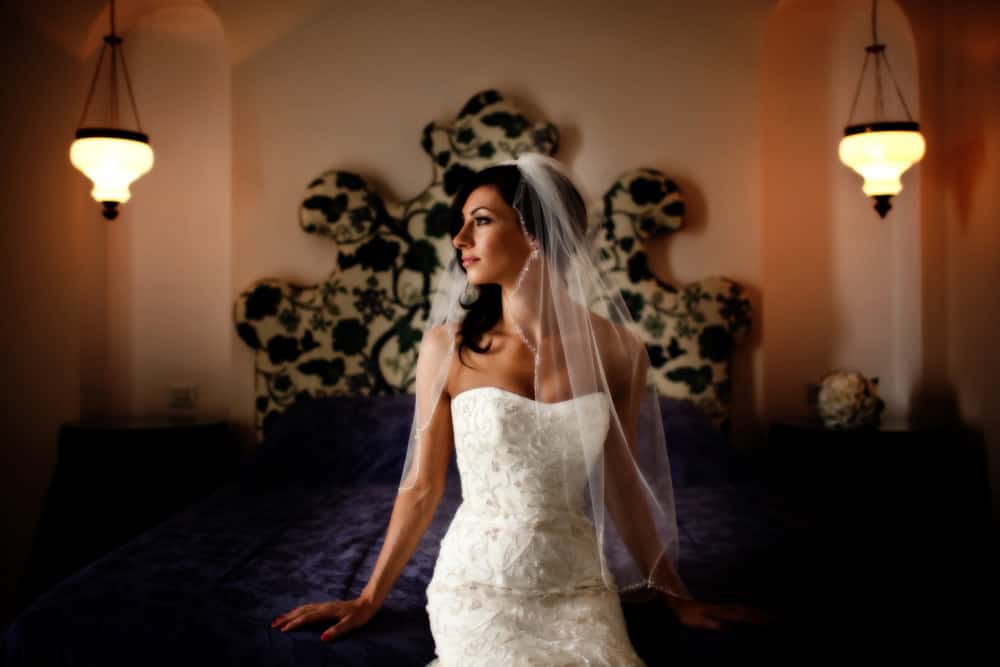 Image of bride before wedding in Italy