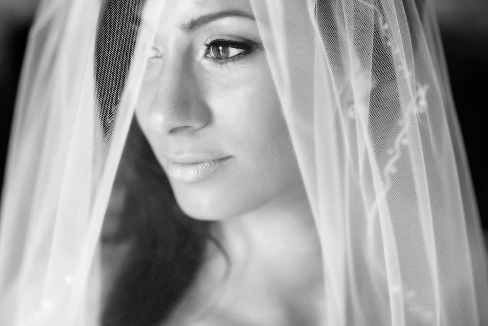 Image of bride behind veil.