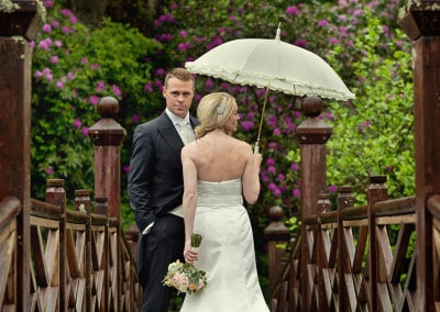 Bride and groom at Bryngarw House in Bridgend.