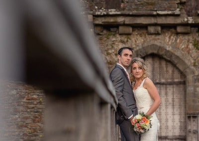 Wedding couple at Caerphilly Castle