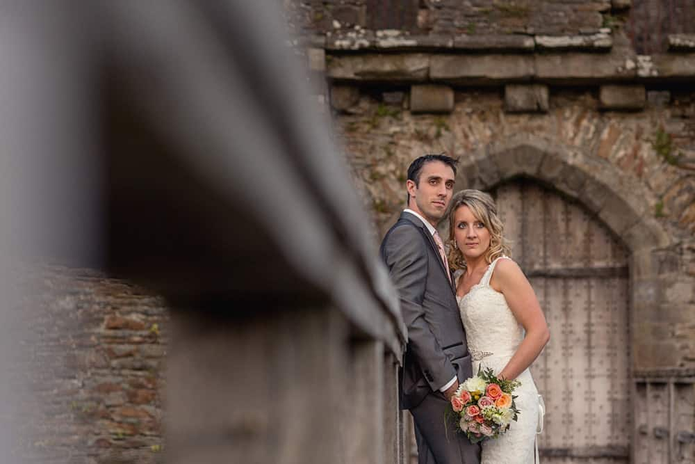 Bride and groom at Caerphilly Castle for Wedding Portfolio