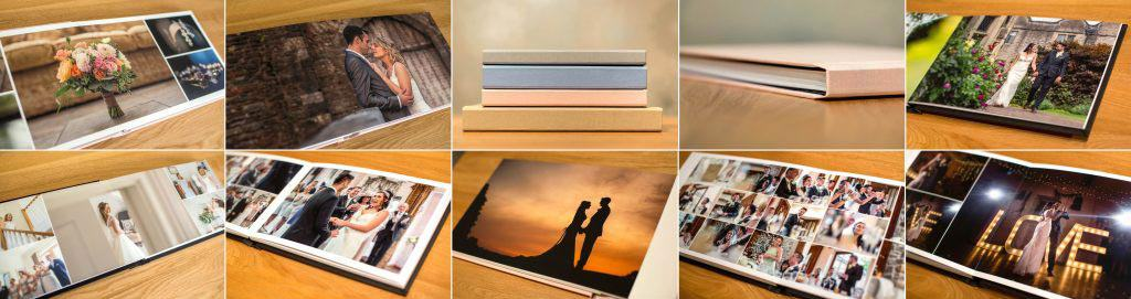 Photograph of wedding albums and products.