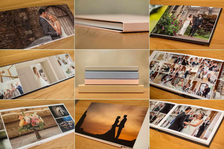 Photograph of wedding album samples.