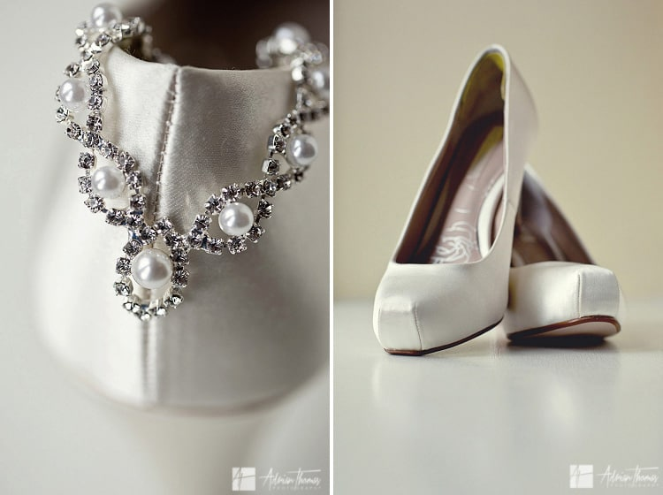 Brides shoes and jewelry.