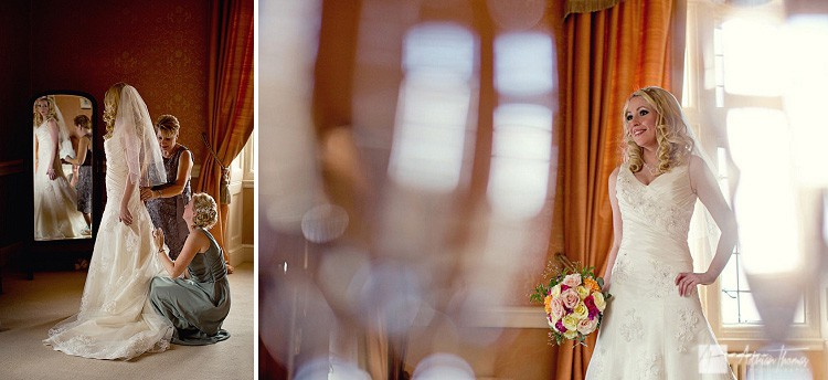 Photography of bride getting ready for her Clearwell Castle wedding.